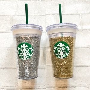 Two Starbucks double walled glitter cold cups